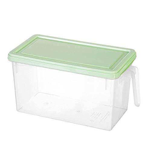 Ruoyu-EU - Caja de almacenamiento para refrigerador, caja de almacenamiento de frutas, cocina con asa, se puede superponer, sellado con tapa (verde)
