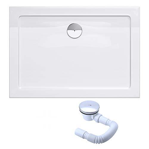 Sogood Bac à douche 70x90 receveur de douche rectangulaire blanc acrylique Faro2 70x90x4cm + bonde AL01