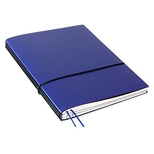 A4+, revolutionärer X17-Terminplaner 2020/2021! Recyceltes Leder, blau; Inhalt: Wochenkalender 2020-2021 und 1x Notizheft (blanko), Buchband; austauschbar=nachhaltig! 17 Jahre Garantie*