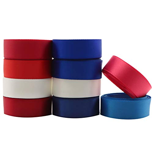David accessories Independence Day Double Face Satin Ribbon Blue Red Color Satin Ribbon 16mm 20 Yards for DIY Gift Wrapping Floral Bow Making (Set)