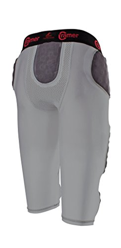Cramer Skill 7 Pad Football Girdle With Integrated Hip, Thigh and Tailbone Pads, Lightweight Collegiate Football Girdle Designed for Speed, Moisture-Wicking and Anti-Bacterial Fabric, Gray, 2X-Large