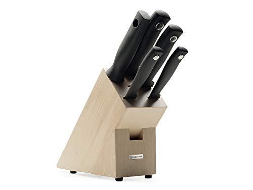 Wüsthof Messerblock 5-tlg, Silverpoint (1095170501), massiver Holzblock, helle Buche, Küchenmesser Set inkl. 4 Kochmesser und 1 Wetzstahl (Schärfstab)
