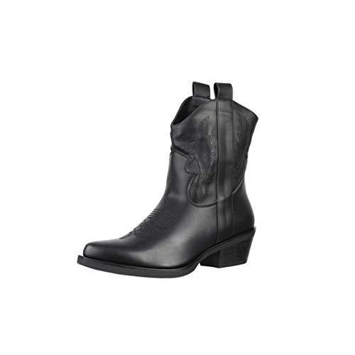 Elara Damen Stiefeletten Cowboy Boots Chunkyrayan BM358 Black-36