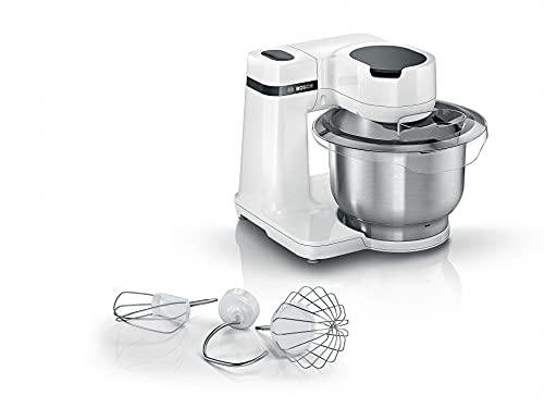 Bosch Küchenmaschine MUM Serie 2 MUMS2EW00, Edelstahl-Schüssel 3,8 L, Planetenrührwerk, Knethaken, Schlag-, Rührbesen Edelstahl, 4 Arbeitsstufen, durch optionales Zubehör erweiterbar, 700 W, weiß
