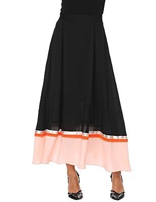 Zeagoo Women Maxi Chiffon Skirt with Belt Fashion Patchwork Long High Waist Skirts