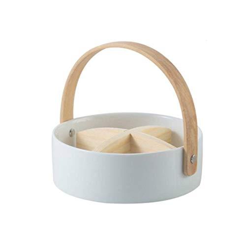 Cuscino Sedia Nordic Ceramic 4 griglia Piatto di Frutta Dado Piatto Creativo con Manico Scomparto Frutta secca Platter Box Casa Snack Food Storage Tray Vaso (Color : White S 16.2x5.5cm)