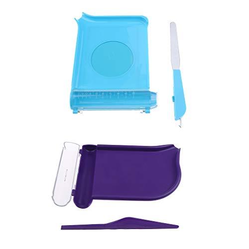 Shiwaki Bandeja De Recuento De 2 Piezas con 2 Tipos De Espátula, Cortador De Pastillas para Farmacia para Contar Medicamentos/Tabletas (púrpura Y Azul)