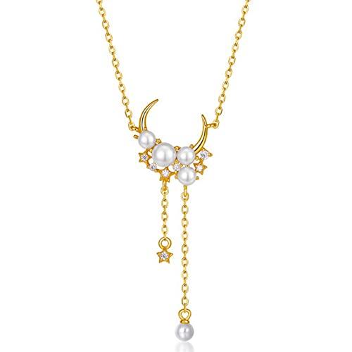 HCMA Collar con Colgante de Borla Larga con Luna Delicada de Plata de Ley 925, Collar de Cadena de clavícula con Dije de Perla para Mujer
