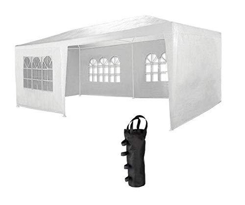 MAXX Gazebo de jardín, 3 x 6 m, con 6 paredes lado, 4 con ventanas y 2 cerrado, uniones plásticos, impermeable, con las clavijas y las cuerdas voltaje, Blanco + 4 x Bolsa lastre para pérgola