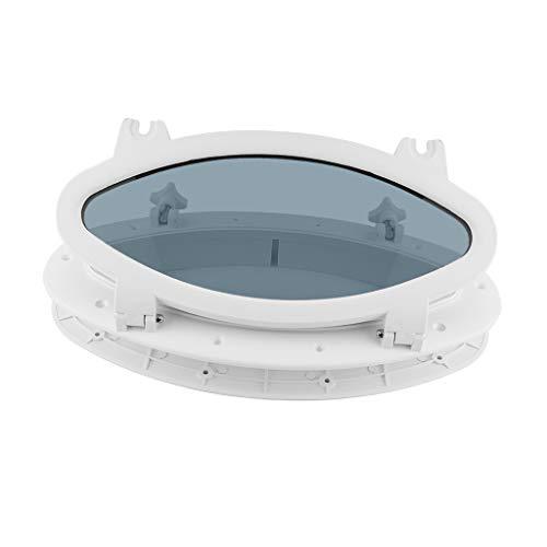 Almencla Ventana ovalada de plástico ABS con cristal templa
