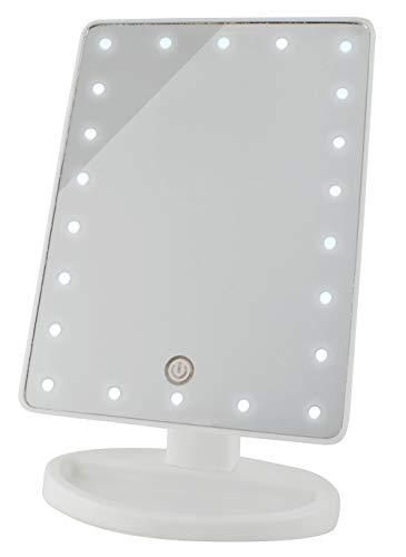 Espejo de maquillaje con luz LED Espejo de maquillaje Iluminado 180 ° Inclinación Táctil 4 baterías o USB 5886