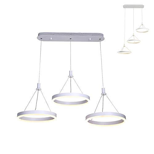 Modern Fashion Créatif design trois anneaux Cuisine Acrylique LED Suspension Leuchten Restaurant Bar Suspension Minimalisme Hauteur réglable 3 ronde éclairage pour salle à manger cuisine Bar