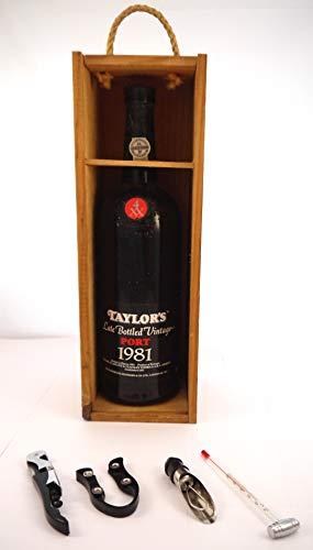 Taylor's Late Bottled Vintage Port 1981 MAGNUM in einer Geschenkbox, da zu 4 Weinaccessoires, 1 x 1500ml