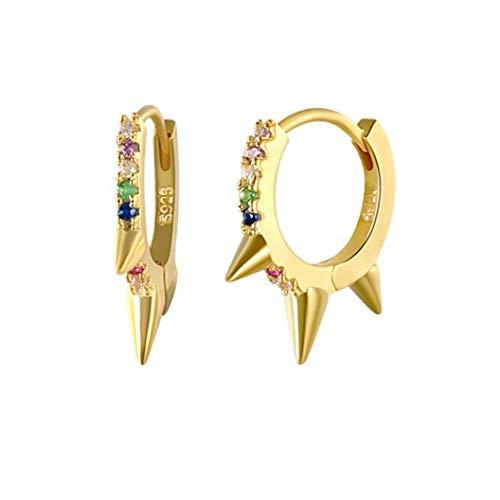 YHFJB Pendientes de plata de ley con cristal geométrico, con encanto, joyas, accesorios, cumpleaños, fiestas, regalo para mujeres, Plata + Hao Shi, dorado, 10 mm