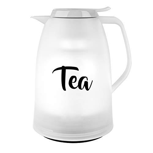 Emsa N4030800 Mambo Isolierkanne Tea | 1 Liter Fassungsvermögen | Made in Germany | 12h heiß | 24h kalt | 100% dicht | auslaufsicher | Weiß
