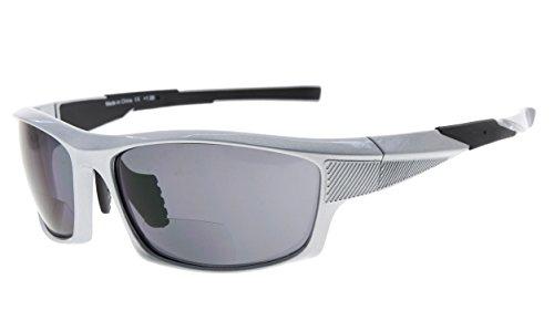 Eyekepper TR90 Sport Bifokale Sonnenbrille Baseball Laufen Angeln Fahren Golf Softball Wandern Leser (Perliges Silber, 2.00)