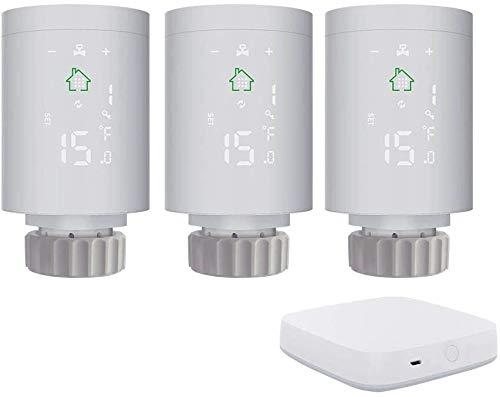 KKmoon Thermostat Heizung (3 Stück) Thermostatkopf Intelligenter Heizkörperregler ZIGBEE 3.0 mit Smart Home Gateway ZigBee-Gateway-Host Smart-Gateway WLAN Verbindung für mehrere Geräte