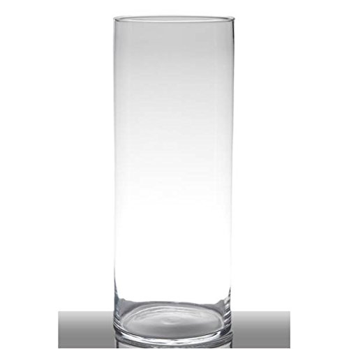 Hakbijl Dekoglas, Vase Zylinder Luna H. 50cm D. 19cm transparent rund Glas