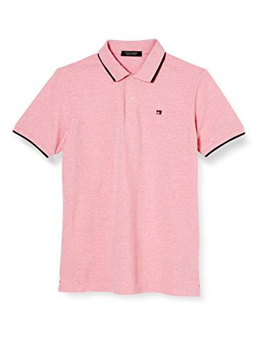 Scotch & Soda Herren Meliert Baumwoll-Piqué Poloshirt, Rosa (Hibiscus Pink Melange 3569), Large (Herstellergröße:L)