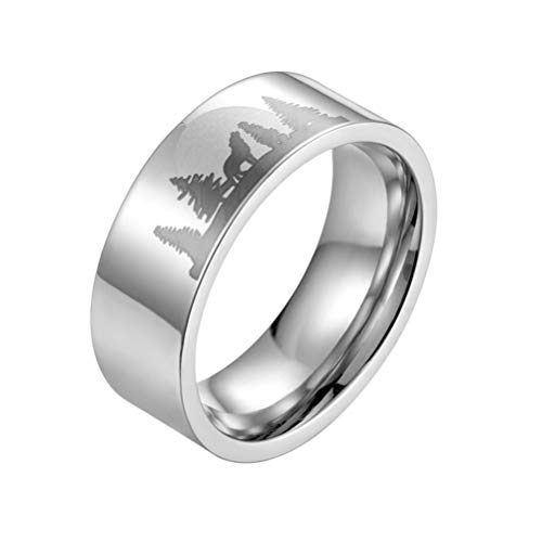 Happyyami Anel de aço de titânio, anel de tungstênio lobo luar masculino aliança de casamento anel de dedo anel exclusivo joia presente 2.06*2.06cm Prata