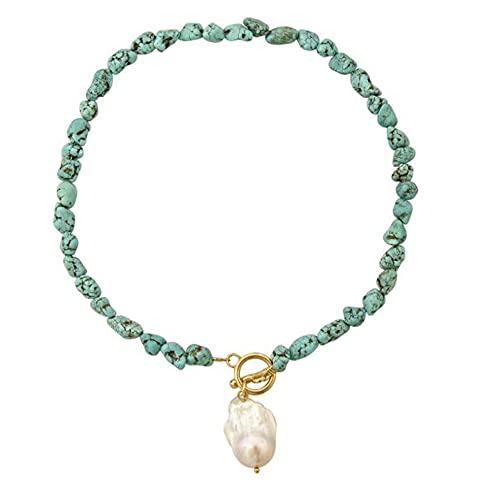 Mountainsea Collar con colgante de perlas barrocas de simulación, diseño simple, piedra verde salvaje, elegante colgante con letra inicial para mujer (color metálico: C)