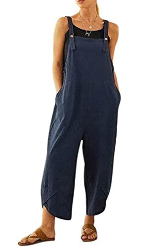 KOOSUFA Latzhose Damen Sommer Jumpsuit Overall Ärmellos Baggy Sommerhose Oversize Loose Hose mit Eingrifftaschen M L XL 2XL 3XL 4XL 5XL (Blau, XL)