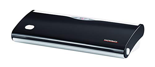 Gastroback 46011 Design Pro Vakuumierer (120 Watt), inklusive 1 Folienrolle (28 x 600cm), Kontrollleuchte/Vakuum der Pumpe 500mm Hg / 0,6 bar, Kunststoff, Schwarz