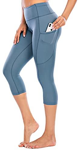 Ecupper Pinocchietti Leggings Sportivi a Vita Alta da Donna con Tasche Esercizi Palestra Fitness Blu 40