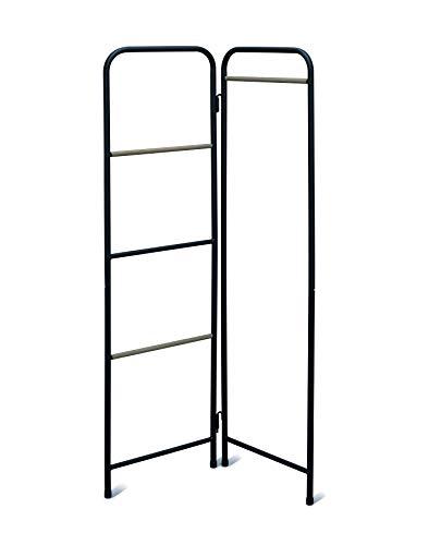Movian - Marca Amazon, Armario plegable, Perchero de madera y metal, 6 barras y 2 ganchos extraíbles incluidos, Oficina, Sala de estar, Entrada, Metal Garment Rack PI-O150, Roble negro