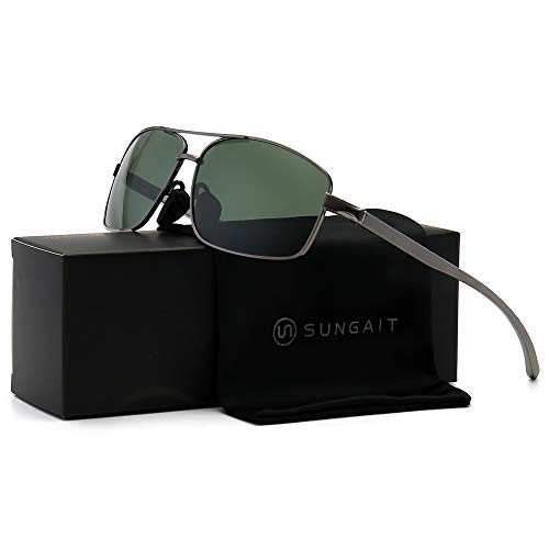 SUNGAIT Ultra Lightweight Rectangular Polarized Sunglasses UV400 Protection (Gunmetal Frame Green Lens, 62) Metal Frame 2458 QKMLV