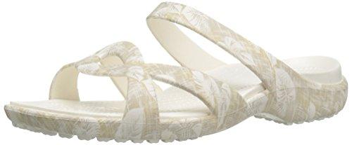 crocs Women's Meleen Twist Graphic Flat Sandal, Cobblestone/Tropical, 11 M US