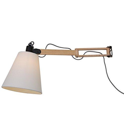 Wandleuchte mit Echtholz in Birke Schwenkarm 480mm Länge, 1xE14 max. 40W, Wandlampe Lampenschirm Ø 200mm inklusive Leuchtmittel