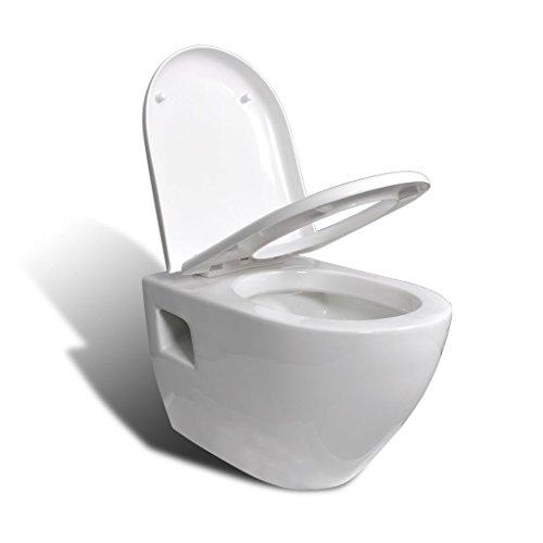 vidaXL Cuvette WC suspendue blanche avec abattant Céramique blanc 52 x 35,5 x 37,5 cm