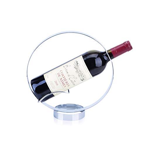 CWT Estante de vino redondo de metal para vino y vino, creativo, color rojo, mesa de vino