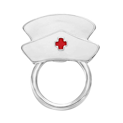 NOUMANDA White Enamel Nurse Hat Eyeglass Holder Safety Magnetic Pin Holder