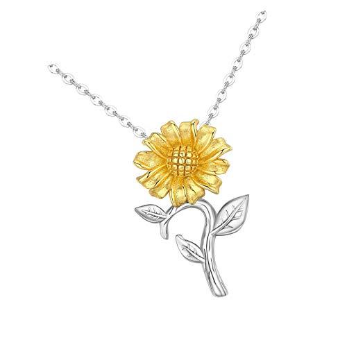 Colgante de plata de ley con diseño de girasol para mujer, ideal para cualquier edad