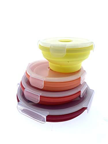 Home Creation Cajas de almacenamiento plegables para el almuerzo, fiambrera, juego de fiambreras de silicona, fiambrera redonda