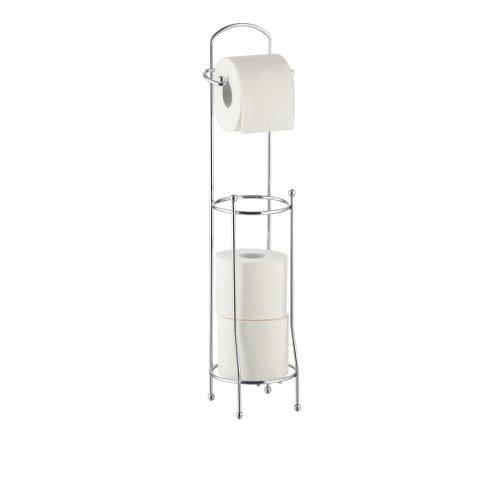 axentia Klopapierhalter Udana für Badezimmer und Gäste-WC, Toilettenpapierhalter stehend, Bad-Accessoire für vier Rollen Toilettenpapier, verchromt