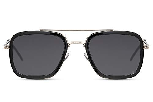 Cheapass Sonnenbrillen Pilot Viereckig Rennsport Schattierungen Silber Metall Schwarz Innenrahmen und dunkle Gläser UV400 geschützt Herren
