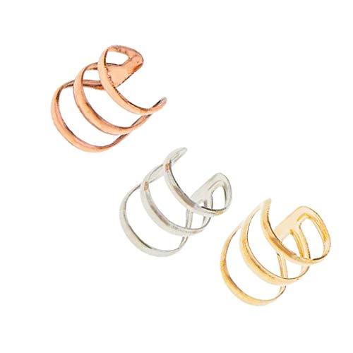 Conijiwadi 3pcs Clips para Las Orejas en Forma de U de aleación no Hay perforación del cartílago del oído del Pendiente de Las Mujeres del Manguito Hombre Suministros