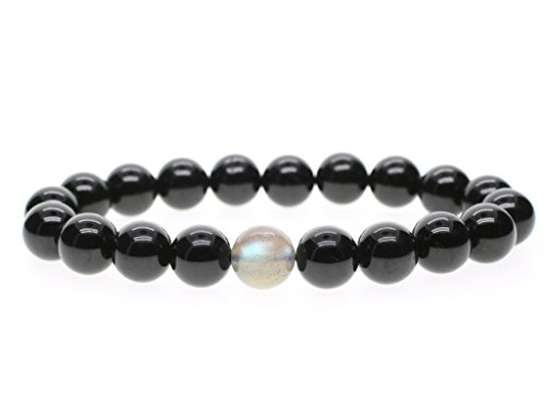 COAI® Pulsera de Piedra Semipreciosa Turmalina Negra y Labradorita 10mm
