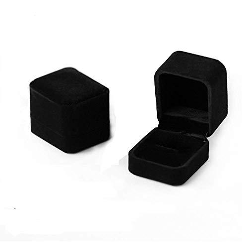 Caja de anillo de terciopelo Regalo Joyero Pareja caja del anillo negro Arete Estuche elegante Cajas de regalo 3.9 * 5.1 * 5.4cm (2.5 * 2 * 2.1 pulgadas) Juego de 2 (Schwarz)