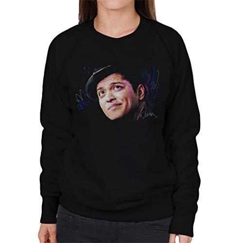 VINTRO Damen Sweatshirt Bruno Mars Hat Original Portrait by Sidney Maurer Professionell Bedruckt Gr. XL, Jet Black