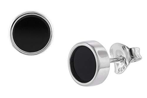 trendor Ohrringe Silber 925 Ohrstecker mit Onyx zauberhafter Ohrschmuck aus echtem Sterlingsilber für Damen, wunderschöne Geschenkidee für Frauen, 08777