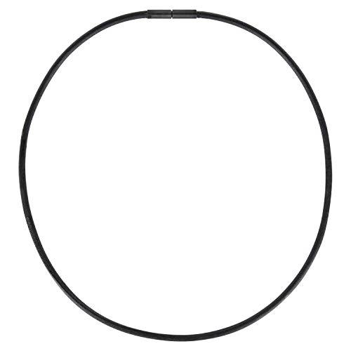 Auroris Echtleder Kette schwarz Dicke 3mm mit Tunnel-Drehverschluss aus matt-schwarzem Edelstahl Länge 60 cm