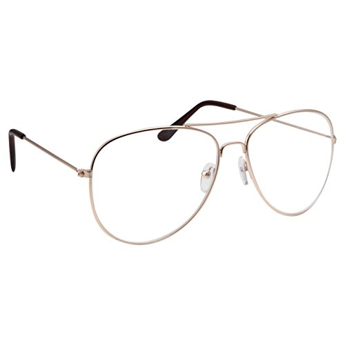 Classic Men's Or Women's Fashion Gold Aviator Glasses (3 Sizes) - MEDIUM