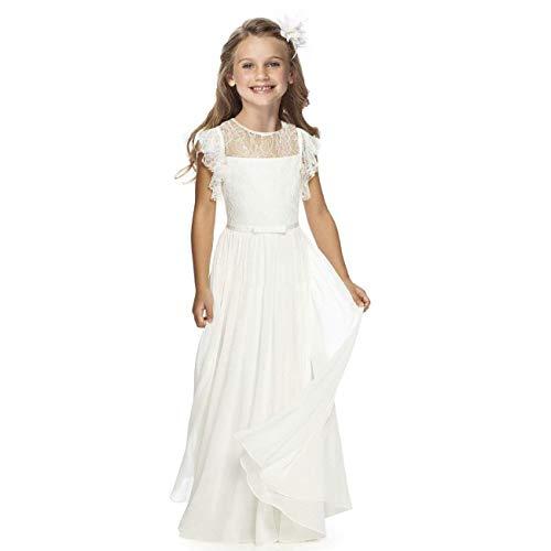 TYHTYM Vestido de niña de las flores desfile de la boda vestidos de encaje vestido de bola vestido de fiesta de la muchacha de baile vestido de fiesta de mangas flauta blanco, blanco crema, 10-11 Años