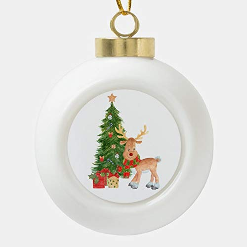 Dom576son Christmas Ball Ornaments, Watercolor Reindeer Baby Ceramic Ball Christmas Ornament, Shatterproof Christmas Decorations Tree Balls for Holiday Wedding Party Decoration