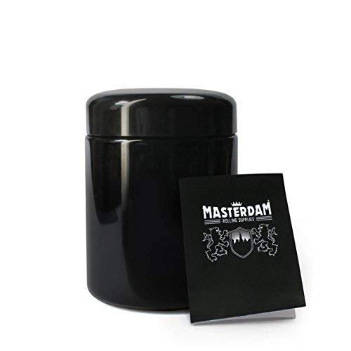 Masterdam Jars 250ml StashShield UV Glass Jar - Airtight Smell-Proof Ultraviolet Storage Stash Jar Container Refillable Tall Wide-Mouth