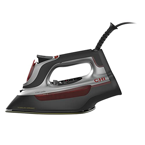 CHI Steam Iron for Clothes with Electronic Temperature Control, Titanium Infused Ceramic Soleplate, 1700 Watts, XL 10' Cord, 3-Way Auto Shutoff, 300+ Holes, Professional Grade, Silver (13107)